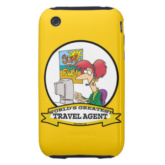 WORLDS GREATEST TRAVEL AGENT WOMEN CARTOON TOUGH iPhone 3 CASES