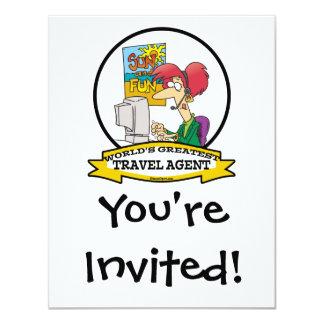 WORLDS GREATEST TRAVEL AGENT WOMEN CARTOON 4.25X5.5 PAPER INVITATION CARD