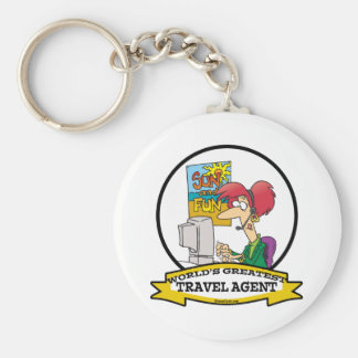 WORLDS GREATEST TRAVEL AGENT WOMEN CARTOON BASIC ROUND BUTTON KEYCHAIN