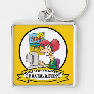 WORLDS GREATEST TRAVEL AGENT WOMEN CARTOON Silver-Colored SQUARE KEYCHAIN
