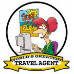WORLDS GREATEST TRAVEL AGENT WOMEN CARTOON ACRYLIC CUT OUT