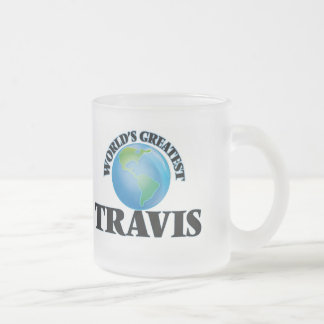World's Greatest Travis Frosted Glass Coffee Mug