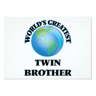 World's Greatest Twin Brother 5x7 Paper Invitation Card