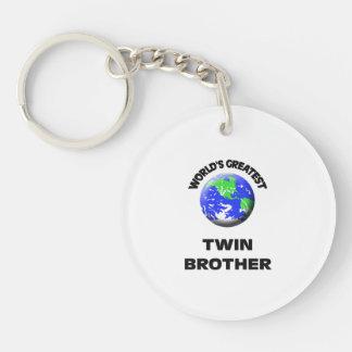 World's Greatest Twin Brother Single-Sided Round Acrylic Keychain