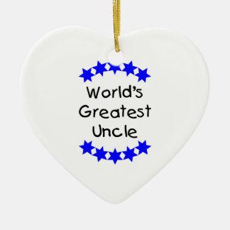 World's Greatest Uncle (blue stars) Ceramic Ornament