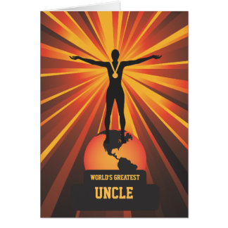 Worlds Greatest Uncle Golden Award Greeting Card