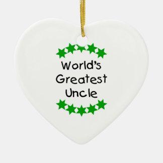 World's Greatest Uncle (green stars) Ceramic Ornament