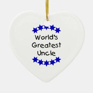 World's Greatest Uncle (navy stars) Ceramic Ornament