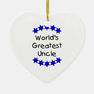 World's Greatest Uncle (navy stars) Christmas Tree Ornaments