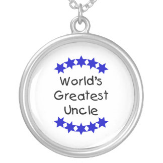 World's Greatest Uncle (navy stars) Round Pendant Necklace