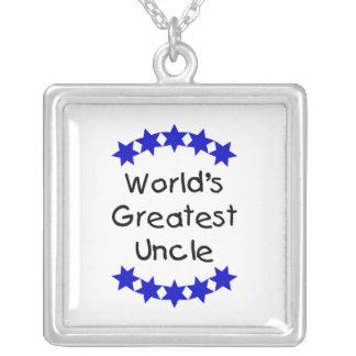 World's Greatest Uncle (navy stars) Square Pendant Necklace