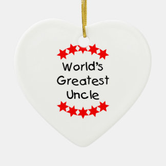 World's Greatest Uncle (red stars) Ceramic Ornament
