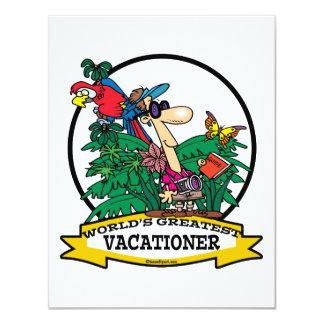 WORLDS GREATEST VACATIONER MEN CARTOON 4.25X5.5 PAPER INVITATION CARD