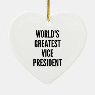 Worlds Greatest Vice President Double-Sided Heart Ceramic Christmas Ornament