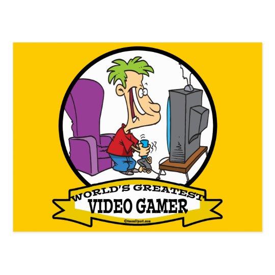 WORLDS GREATEST VIDEO GAMER KIDS CARTOON POSTCARD