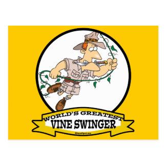WORLDS GREATEST VINE SWINGER MEN CARTOON POSTCARD