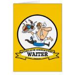 WORLDS GREATEST WAITER II MEN CARTOON GREETING CARD