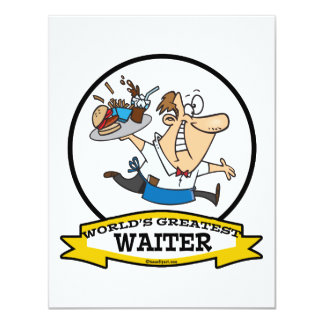 WORLDS GREATEST WAITER II MEN CARTOON PERSONALIZED ANNOUNCEMENTS