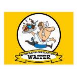 WORLDS GREATEST WAITER II MEN CARTOON POSTCARD