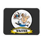 WORLDS GREATEST WAITER II MEN CARTOON RECTANGULAR MAGNET