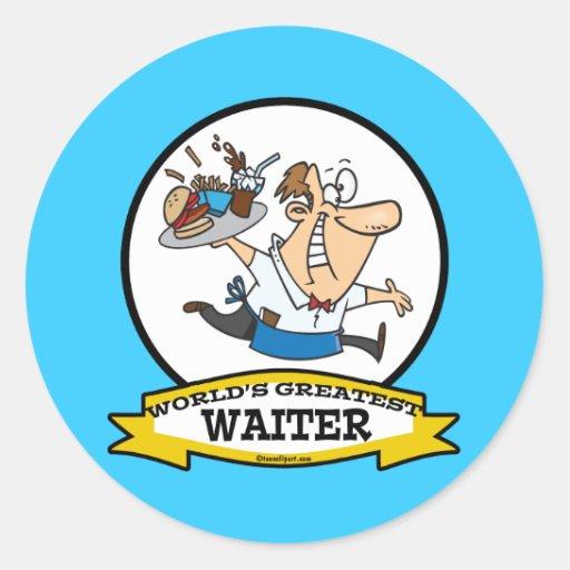 WORLDS GREATEST WAITER II MEN CARTOON STICKERS