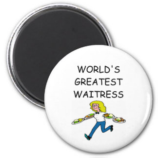 world's greatest waitress 2 inch round magnet