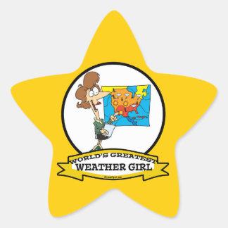 WORLDS GREATEST WEATHER GIRL WOMEN CARTOON STICKER