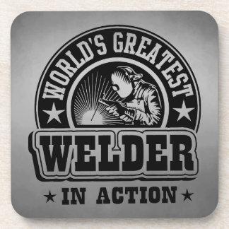 World's Greatest Welder In Action Beverage Coaster