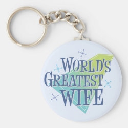 Basic Button Keychain with World's Greatest Wife design