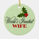 World's Greatest  Wife Double-Sided Ceramic Round Christmas Ornament