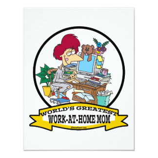 "WORLDS GREATEST WORK AT HOME MOM WOMEN CARTOON 4.25"" X 5.5"" INVITATION CARD"
