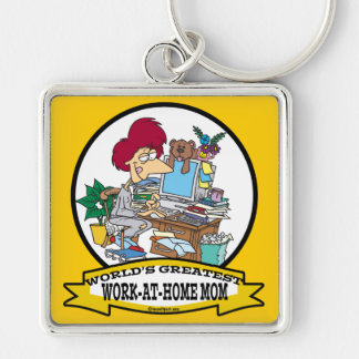 WORLDS GREATEST WORK AT HOME MOM WOMEN CARTOON Silver-Colored SQUARE KEYCHAIN