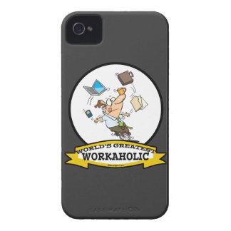 WORLDS GREATEST WORKAHOLIC MEN CARTOON Case-Mate iPhone 4 CASES