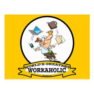 WORLDS GREATEST WORKAHOLIC MEN CARTOON POSTCARD