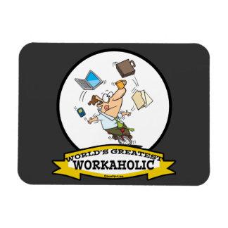 WORLDS GREATEST WORKAHOLIC MEN CARTOON VINYL MAGNET