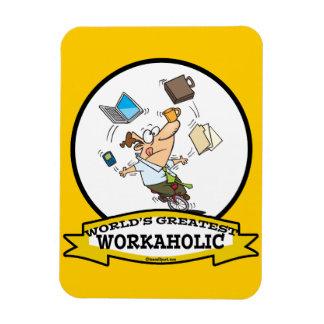 WORLDS GREATEST WORKAHOLIC MEN CARTOON RECTANGULAR MAGNET