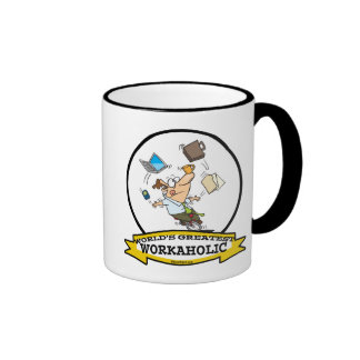 WORLDS GREATEST WORKAHOLIC MEN CARTOON RINGER MUG