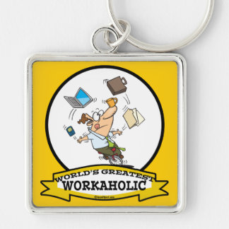 WORLDS GREATEST WORKAHOLIC MEN CARTOON Silver-Colored SQUARE KEYCHAIN
