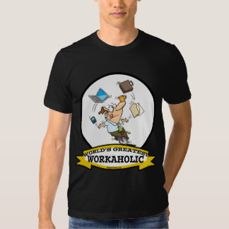 WORLDS GREATEST WORKAHOLIC MEN CARTOON TEE SHIRT