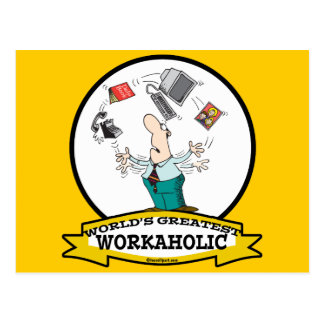 WORLDS GREATEST WORKAHOLIC MEN II CARTOON POSTCARD