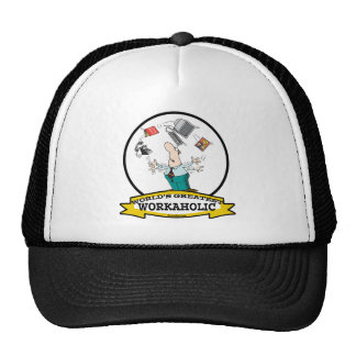 WORLDS GREATEST WORKAHOLIC MEN II CARTOON TRUCKER HAT