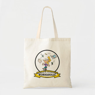 WORLDS GREATEST WORKAHOLIC WOMEN CARTOON BUDGET TOTE BAG