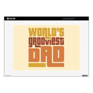 """World's Grooviest Dad Retro Funny 15"""" Laptop Decal"""