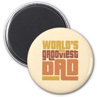 World's Grooviest Dad Retro Funny 2 Inch Round Magnet