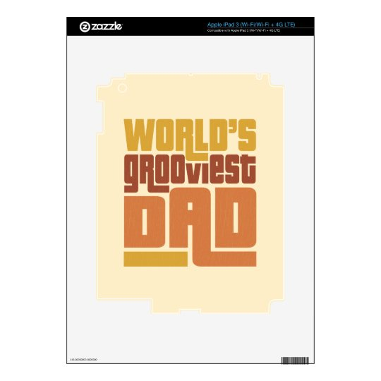 World's Grooviest Dad Retro Funny Decals For iPad 3