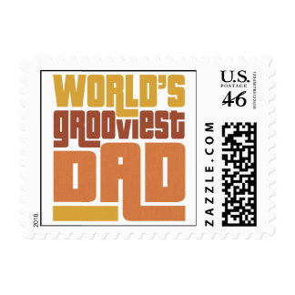 World's Grooviest Dad Retro Funny Postage Stamps