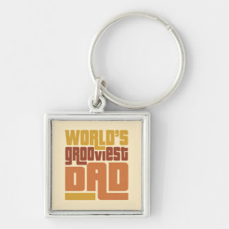 World's Grooviest Dad Retro Funny Silver-Colored Square Keychain