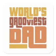 World's Grooviest Dad Retro Funny Square Sticker