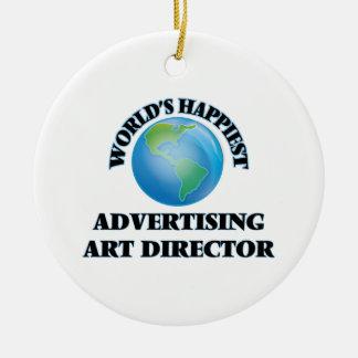 World's Happiest Advertising Art Director Round Ceramic Ornament