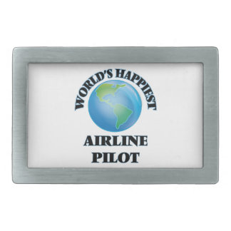 World's Happiest Airline Pilot Rectangular Belt Buckle